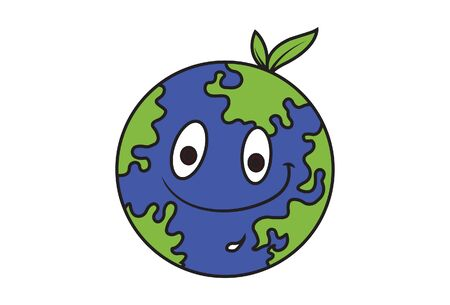 Vector cartoon illustration of the earth is smiling. Isolated on white background. Ilustracja