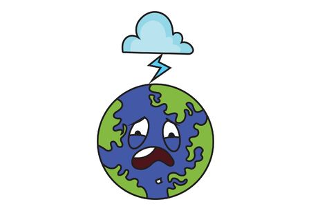 Vector cartoon illustration of the earth with the cloud. Isolated on white background.