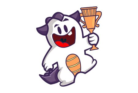 Vector cartoon illustration of a happy monster holding trophy in hand. Isolated on white background.