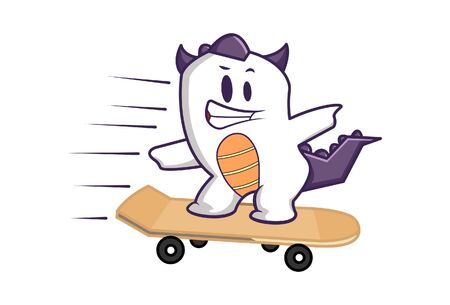 Vector cartoon illustration. Monster is playing on skateboard. Isolated on white background. 矢量图像