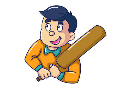 Vector cartoon illustration of boy holding cricket bat in hand. Isolated on white background.