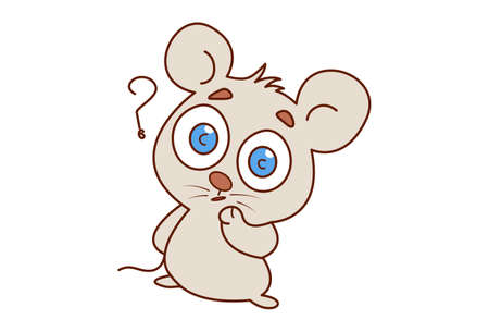 Vector cartoon illustration of confused mouse. Isolated on white background.