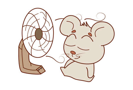 ector cartoon illustration of mouse relaxing in front of a table fan. Isolated on white background. Ilustração