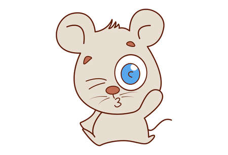Vector cartoon illustration. Mouse is blinking an eye. Isolated on white background.