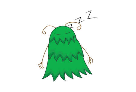 Vector cartoon illustration. Monster is sleeping. Isolated on white background.