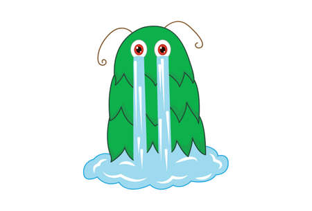 Vector cartoon illustration of a monster weeping. Isolated on white background.