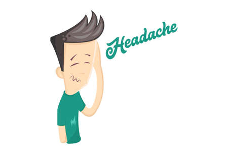 Vector cartoon illustration of a young boy feeling unwell. Lettering text- headache. Isolated on white background.