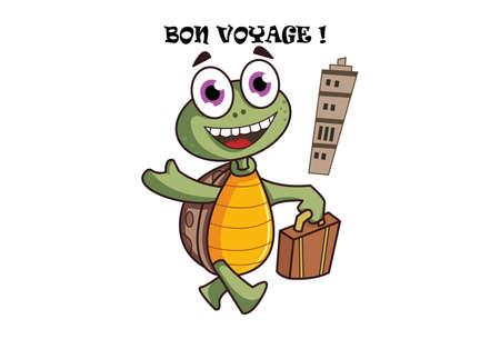 Vector cartoon illustration of turtle holding a travel bag. bon voyage text translation Happy journey. Isolated on white background.
