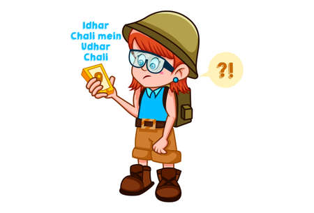Vector cartoon illustration. Cute girl is wearing a bag and holding the phone in hand. Idhar chali mein udhar chali Hindi text translation - Went here and there. Isolated on white background.