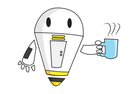 Vector cartoon illustration of robot holding a teacup. Isolated on white background. Ilustración de vector