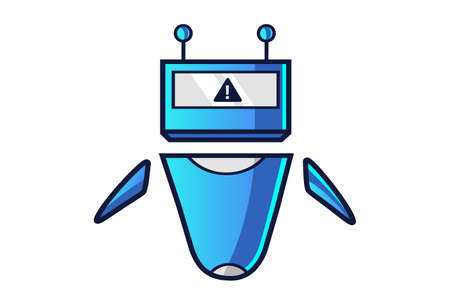 Vector cartoon illustration of a robot with an error sign. Isolated on white background.
