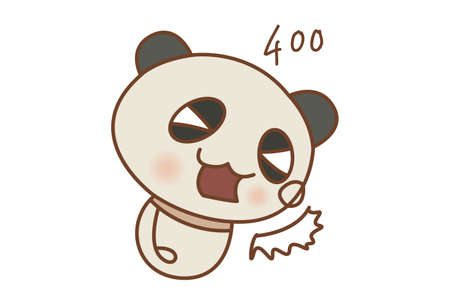 Vector cartoon illustration of a cute panda. Isolated on white background.