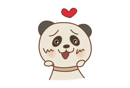 Vector cartoon illustration of a panda in love. Isolated on white background. Illusztráció