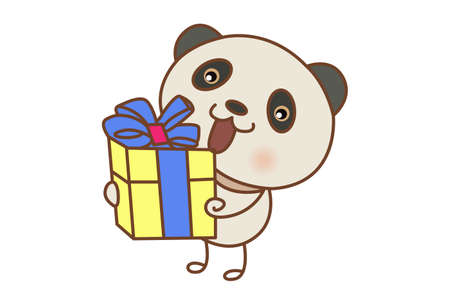 Vector cartoon illustration of a panda holding gift box in hands. Isolated on white background. Illusztráció