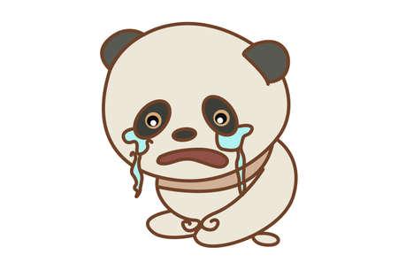 Vector cartoon illustration of a panda crying. Isolated on white background. Illusztráció