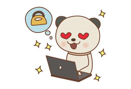 Vector cartoon illustration. Panda doing online shopping. Isolated on white background.