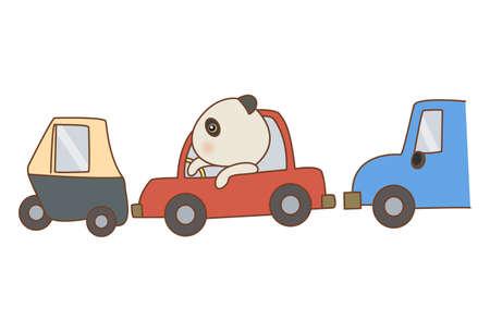 Vector cartoon illustration of a panda stuck in traffic. Isolated on white background. Illusztráció