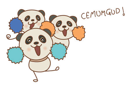 Vector cartoon illustration of cute pandas dancing like cheerleaders. Isolated on white background.