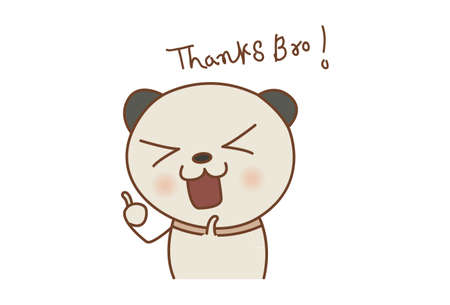 Vector cartoon illustration. Panda showing thumbs up. Lettering text- thanks bro. Isolated on white background.