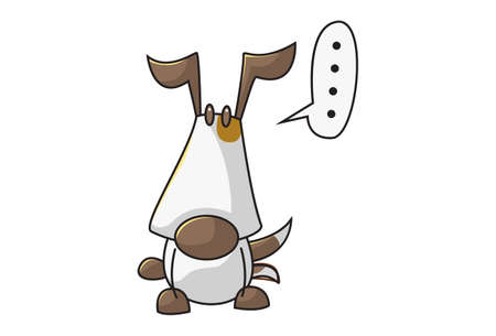 Vector cartoon illustration of a dog in doubt. Isolated on white background.