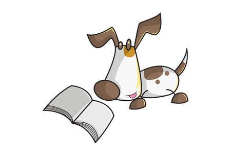 Vector cartoon illustration of a dog reading book. Isolated on white background. Illusztráció