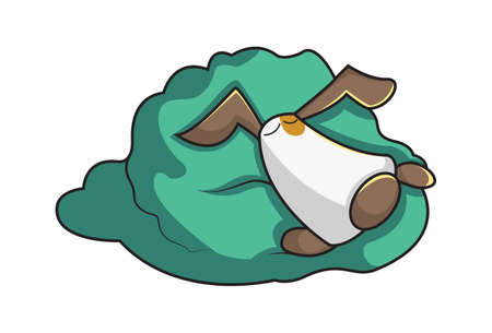 Vector cartoon illustration of a dog sleeping in the blanket. Isolated on white background.