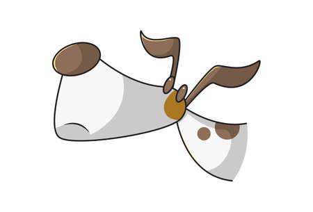 Vector cartoon illustration of a sad dog. Isolated on white background. Illusztráció