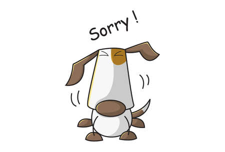 Vector cartoon illustration of a sad dog. Lettering text- sorry. Isolated on white background. Illusztráció