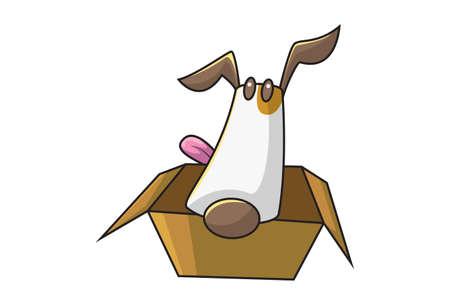 Vector cartoon illustration of a dog sitting in the box. Isolated on white background. Illusztráció