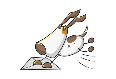 Vector cartoon illustration of a dog jumping on an envelope. Isolated on white background.