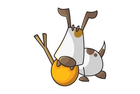 Vector cartoon illustration of a dog holding stick and ball. Isolated on white background. Illusztráció