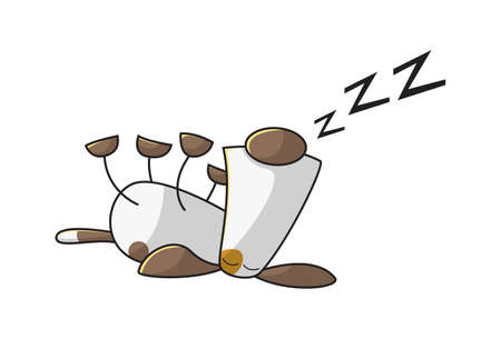 Vector cartoon illustration of a sleeping dog. Isolated on white background.