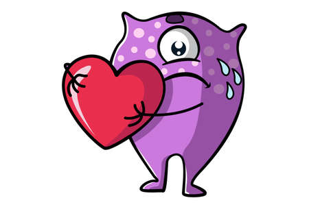 Vector cartoon illustration of a purple monster is sad and holding a heart in hand. Isolated on white background.