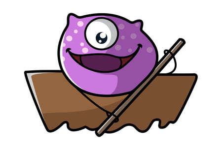 Vector cartoon illustration of a purple monster with boating. Isolated on white background.