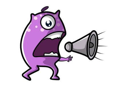 Vector cartoon illustration of purple monster shouting on a megaphone. Isolated on white background. Ilustração