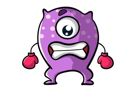 Vector cartoon illustration. Purple monster is angry and wearing boxing gloves. Isolated on white background. Ilustração