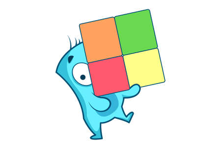 Vector cartoon illustration of a blue monster holding colorful chart. Isolated on white background. Ilustração
