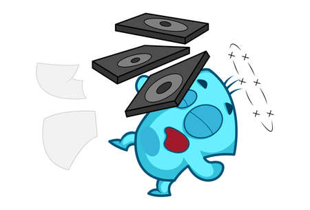 Vector cartoon illustration of blue monster is falling down. Isolated on white background.