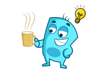 Vector cartoon illustration of blue monster with an idea and holding tea cup. Isolated on white background.