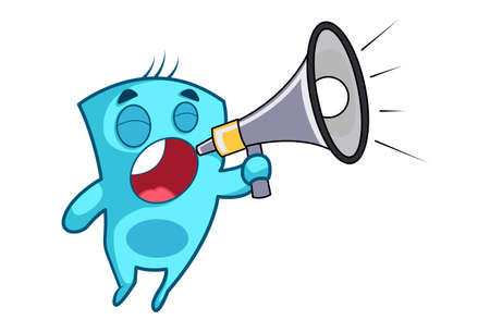 Vector cartoon illustration of monster shouting on a megaphone. Isolated on white background. Ilustração