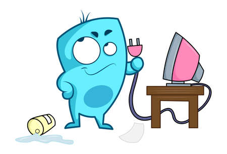 Vector cartoon illustration of blue monster holding television switch. Isolated on white background.