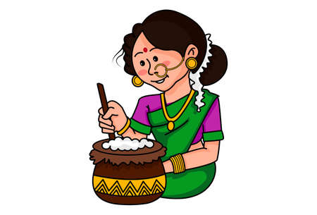 Vector cartoon illustration. Tamil woman is cooking food in a pot. Isolated on white background.