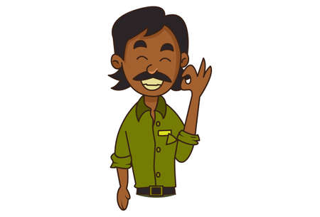 Vector cartoon illustration. Auto driver is showing an okay sign with hand. Isolated on white background. Vetores