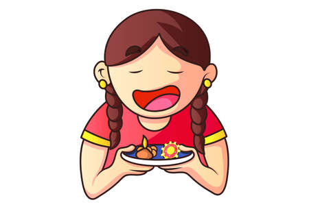 Vector cartoon illustration. Girl is holding the worship plate in hands on Raksha Bandhan festival. Isolated on a white background.