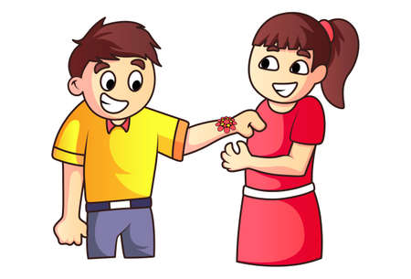 Vector cartoon illustration. Sister is tying rakhi to his brother. Isolated on a white background.