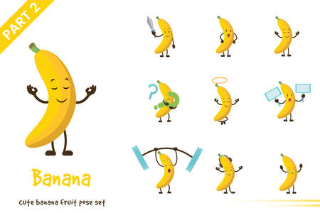 Vector illustration of cute banana fruit poses set. Isolated on white background. Illustration