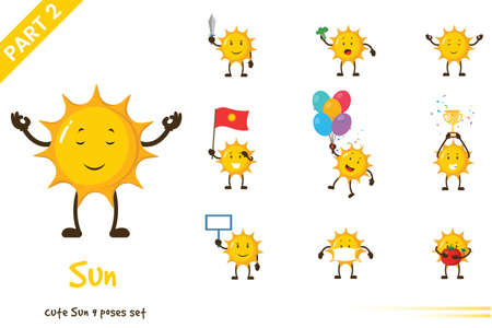 Vector illustration of cute sun poses set. Isolated on white background. 矢量图像