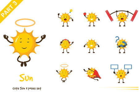 Vector illustration of cartoon cute sun poses set. Isolated on white background.