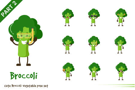 Vector illustration of cartoon cute broccoli vegetable poses set. Isolated on white background.