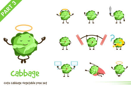Vector illustration of cartoon cute cabbage vegetable poses set. Isolated on white background. Vettoriali